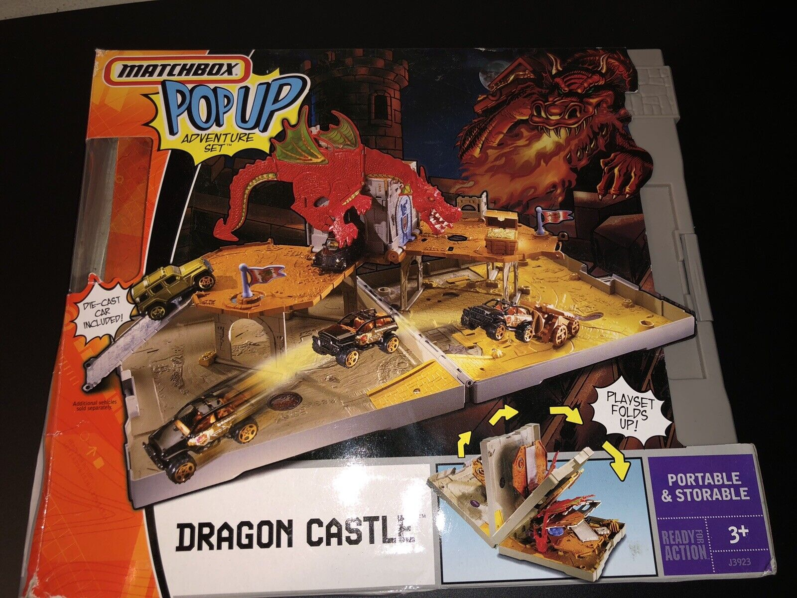 2005 Matchbox Pop Up Adventure Set Dragon Castle Used & Missing Cars