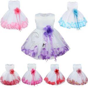 Petals-Flower-Baby-Girl-Wedding-Easter-Junior-Bridesmaid-Baptism-Kid-Dress-0-24M