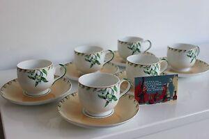 6 cups and saucers porcelain Jean Louis Coquet model Benares Riviera ...