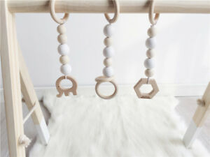 Wooden-Beads-Ring-Natural-Play-Gym-Stroller-Toys-Hanging-Baby-Rattle-Toys