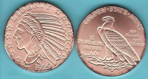 1929  INDIAN INCUSE   $5 Gold   Copper Round Coin    GSM 1//2 oz