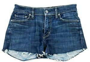 Citizens-Of-Humanity-Womens-Distressed-Blue-Wash-Cut-Off-Jean-Shorts-Size-27