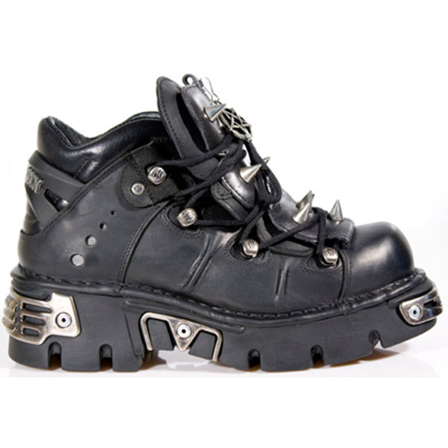 NEW ROCK 110-S1 BLACK GOTHIC  REACTOR GOTHIC BLACK SPIKES NEWROCK LEATHER BOOT ANKLE BOOTS e8f636
