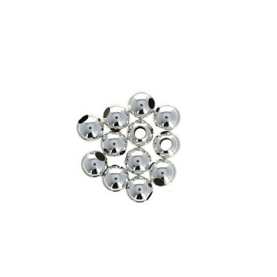 Round Seamless Beads 2mm Hole 50 pcs 5mm Sterling Silver Large Hole Beads