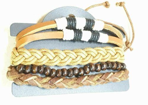 Heren Leder Holz Armband 5-Reihen  braun Neu p.Pita Collection