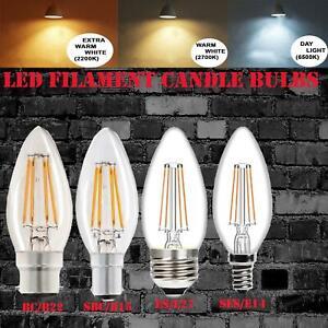E14 E27 B22 4W LED Candle Filament Light Bulb in Soft Tone Warm White ,