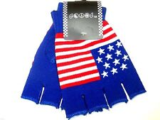 New Fingerless Punk Rocker Red White And Blue USA American Flag  Gloves Warmers