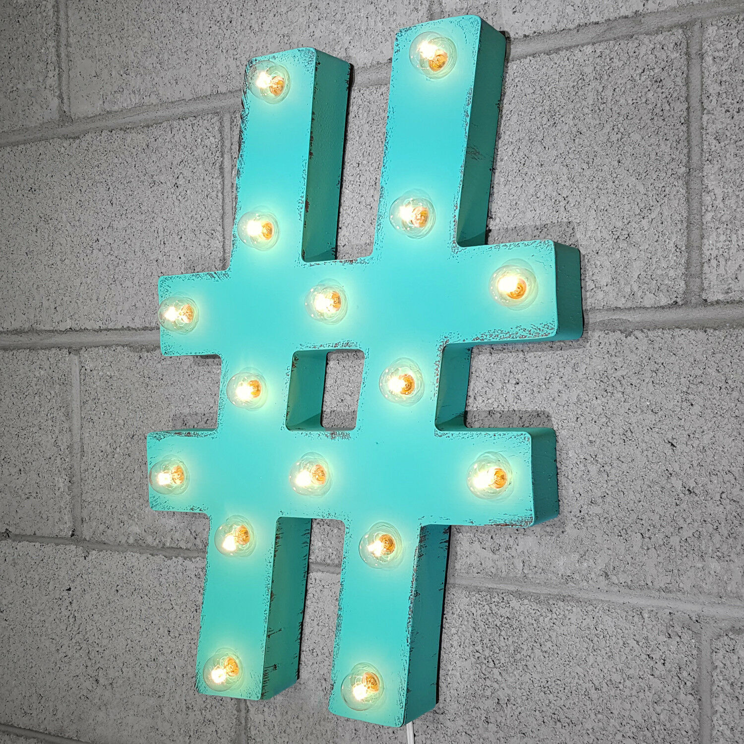 21  HASH TAG   Pound Sign Hashtag Symbol Vintage Rustic Metal Marquee Light Up