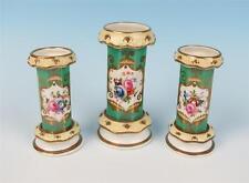 Early 1800's English 3pc Spill Vase Set Apple Green & Floral Garniture Porcelain