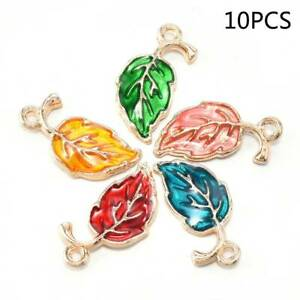 10Pcs Enamel Alloy Leaf Leaves Charms Metal Pendants For Craft Jewelry Findings