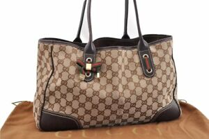 dc1eca61882 Authentic GUCCI Web Princy Shoulder Tote Bag Canvas Leather Brown ...