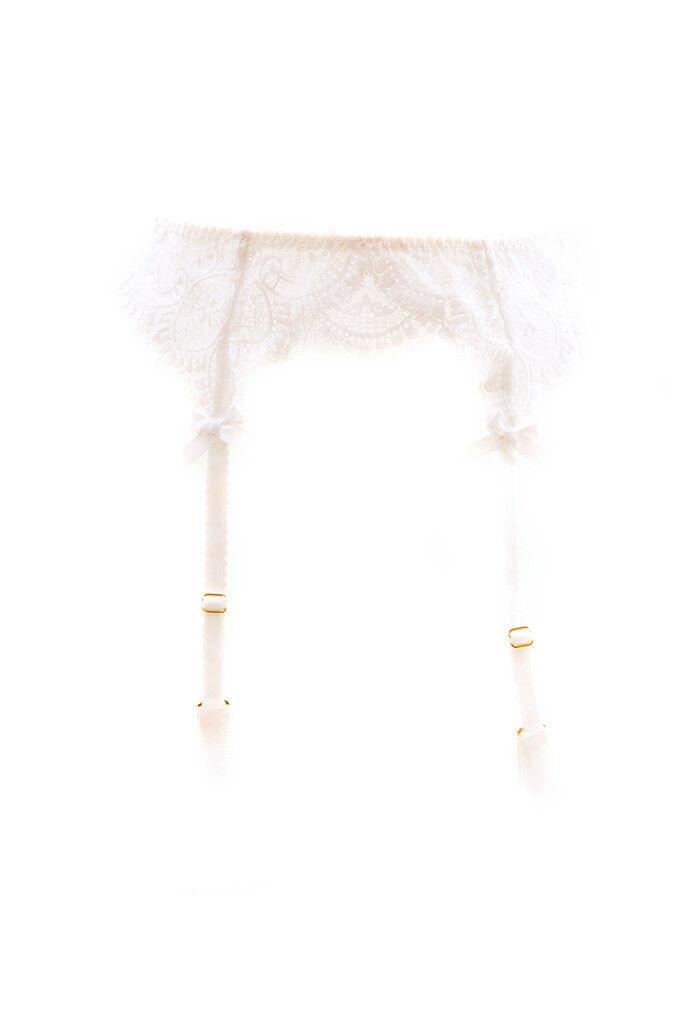 L'Agent by Agent Provocateur Women's Lace Floral Suspender White RRP  BCF89