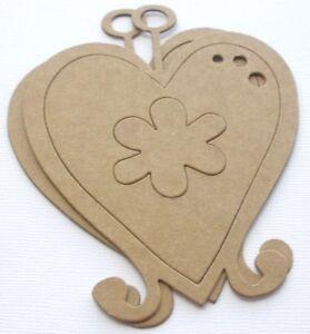 {4} EMBOSSED HEART CROWN Vintage Hearts Bare Chipboard Die Cuts 2 3//8  x 4 1//2