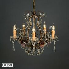 Crystal Glass French Chandelier Antique Bronze Pink  Floral 6 Arm  Ceiling Light