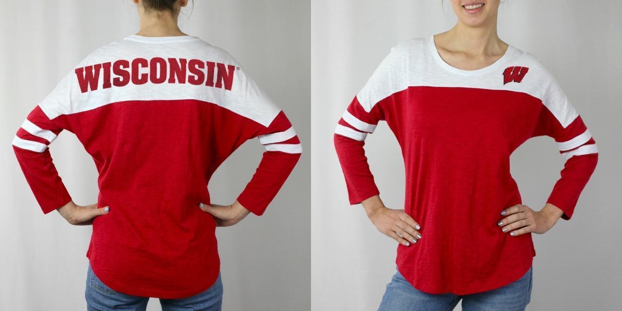 Camisa con mangas 3/4 con bloques de color S-M-L-XL de New Wisconsin Badgers para mujer $ 42