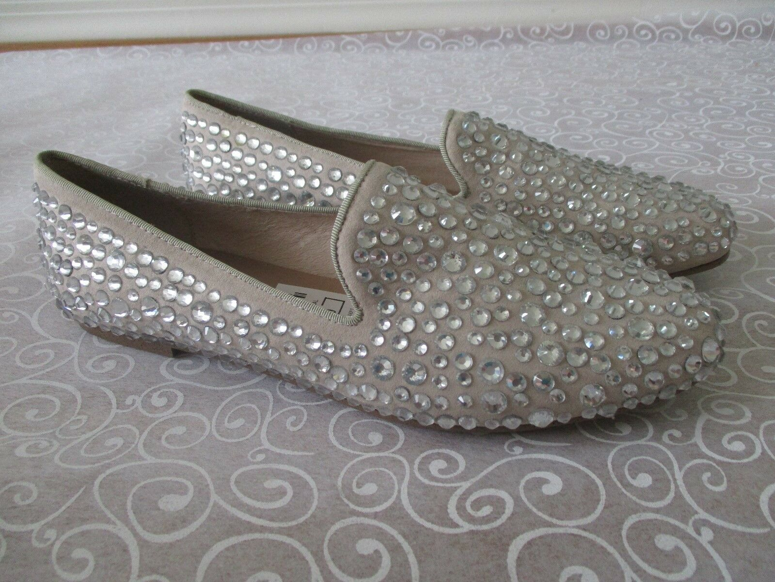 139 STEVEN BY STEVEN MADEN TAN TAN TAN CLEAR RHINESTONE LOAFERS SHOES SIZE 10 M - NEW 3c0028