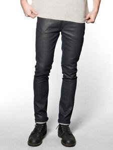 Nudie-Herren-Slim-Skinny-Fit-Raw-Denim-Jeans-Hose-Tape-Ted-Dry-Black-Indigo