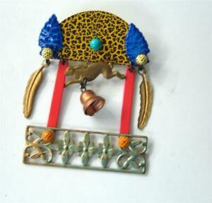 Vintage 1980s Huge Mixed Metal Art Glass Abstract Pendant Brooch Pin Black Gold Copper Silver