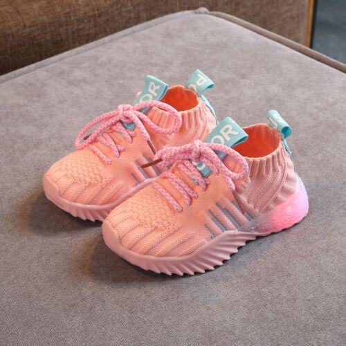 Toddler Infant Kids Girls Boys Mesh LED Light Luminous Sport Shoes Sneakers