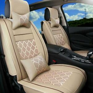 Universal 10PCS Full Set 5 Seats Car Seat Cover Front /& Rear Cushion PU Leather Cooling Mesh W//pillows