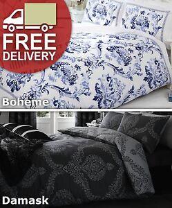 Damask Quilt Duvet Cover Pillowcase Bedding Bed Set Single Double