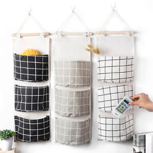 Popular-Plaid-3-Pockets-Wall-Door-Closet-Hanging-Storage-Bag-Organizer-Pouch