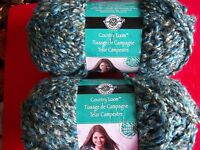 Loops & Threads Country Loom Boucle Yarn, Rich Blues, Lot Of 2 (104 Yds Ea)