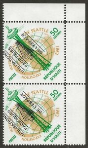 Haiti-1963-Space-Ovpt-Pair-503-variety-SHIFTED-OVERPRINT-Error-VF-NH