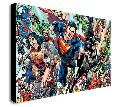 DC MARVEL SUPER HERO GEOMETRIC COLLAGE Various sizes Canvas Framed Wall Art