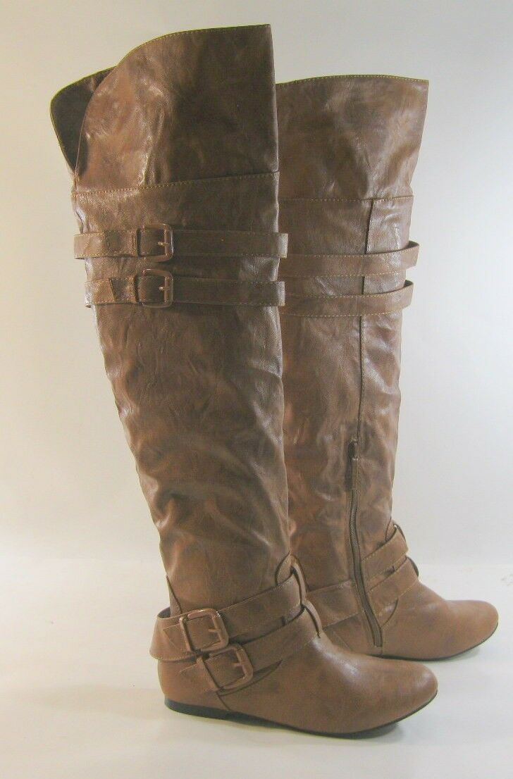Tan Flat Round Toe Over The Knee Sexy Boots Side Buckle Us Womens Size 6.5