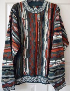 NWT-baucci-Herren-L-Vintage-3d-dicker-Pullover-COOGI-Bill-Cosby-Stil-Acryl-gruen-rost
