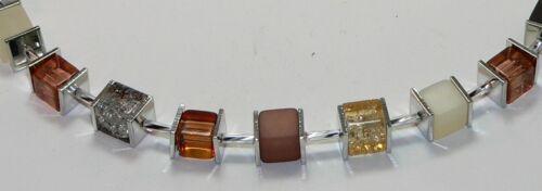 Cubo collar cadena perlas cubo marrón marrón claro crema vidrio Crash 002j