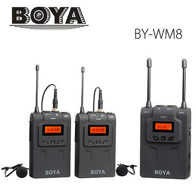 BOYA BY-WM8 wireless UHF Dual Lavalier microphone for DSLR cameras camcorder