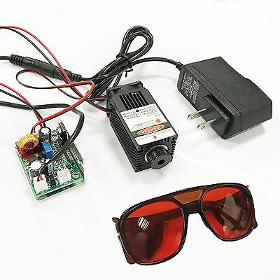 Focusable High Power 2.5W 450nm Blue Laser Module w// TTL Wood Carving Goggle