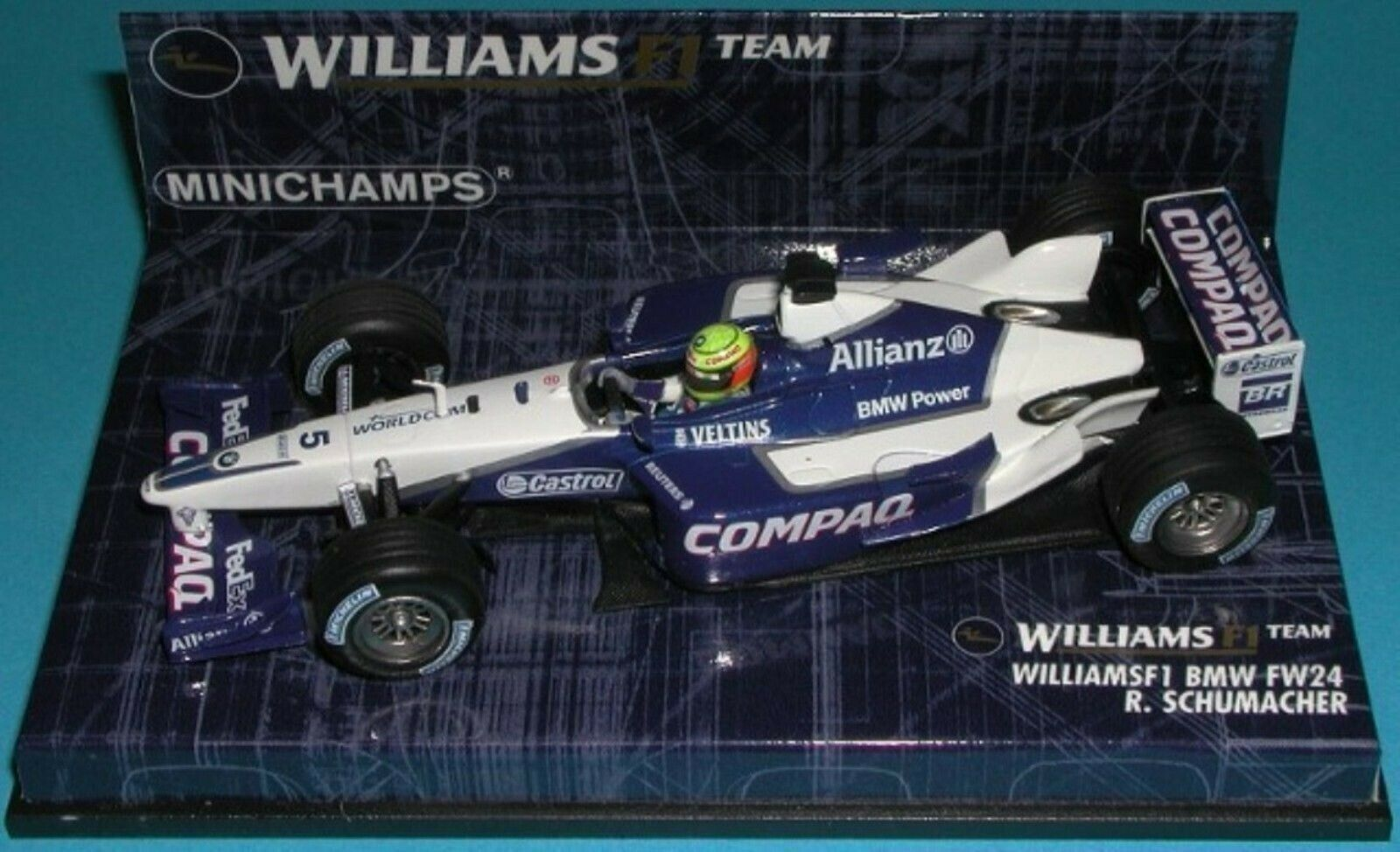 WOW EXTREMELY RARE Williams FW24 R Schumacher Nürburgring 2002 1 43 Minichamps