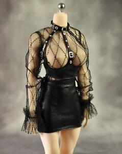 1/6 Female Mesh Bra Corset Tight Short Skirt Clothing Set Phicen 12'' Women Suit