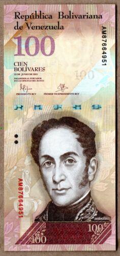 Venezuela UNC Note 100 Bolivares Bs June 2015 AM8
