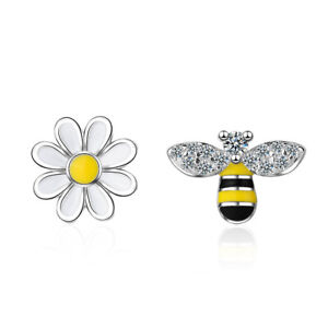 Ladies-Cute-Elegant-925-Sterling-Silver-Zircon-Bee-Sun-Flower-Ear-Stud-Earrings