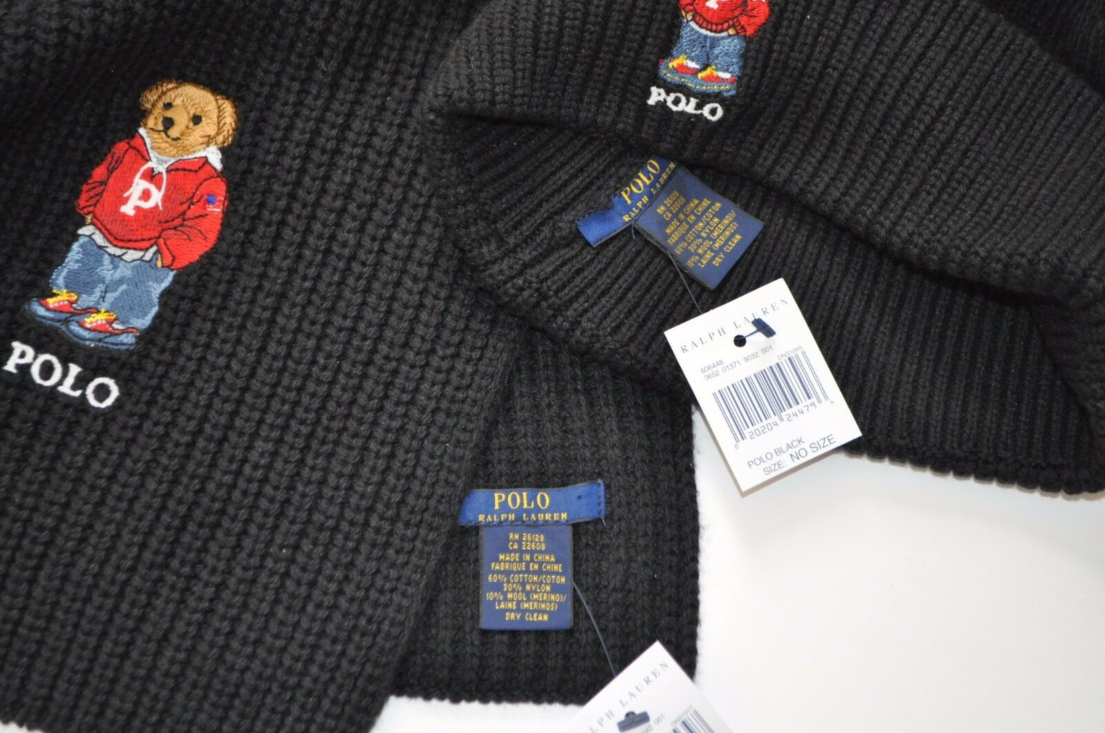 ca211a2dfe6d ... NEW RALPH LAUREN POLO BEAR Winter BEANIE HAT Ski + SCARF Men s Set Ski  HAT GIFT ...