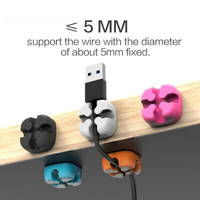 5Pcs Silicone Cross-shaped Cable Clip Organizer Desk Mount Wire Winder Holder PR