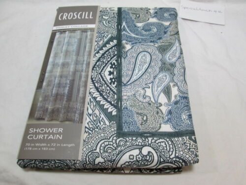 New Croscill Fabric Shower Curtain 70x72 PAISLEY COLLAGE Black /& Ivory Blue
