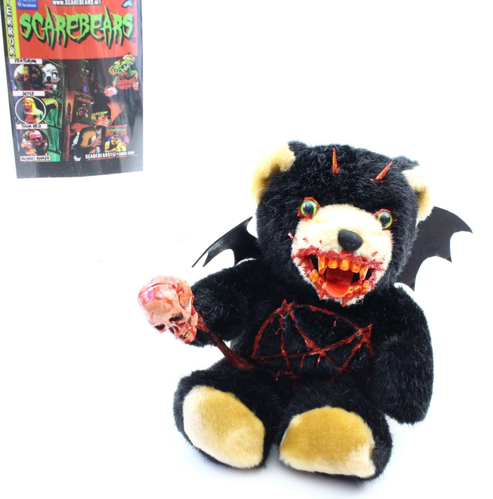 Original, Early Scarebears negro Bear Pentagram, Skull Horror Autographed