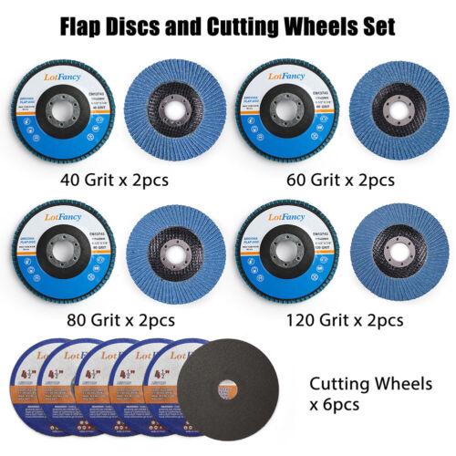 14PCS 4.5 x 7//8 Inch Flap Discs Cutting Cut off Wheel 40 60 80 120 Grit Assorted