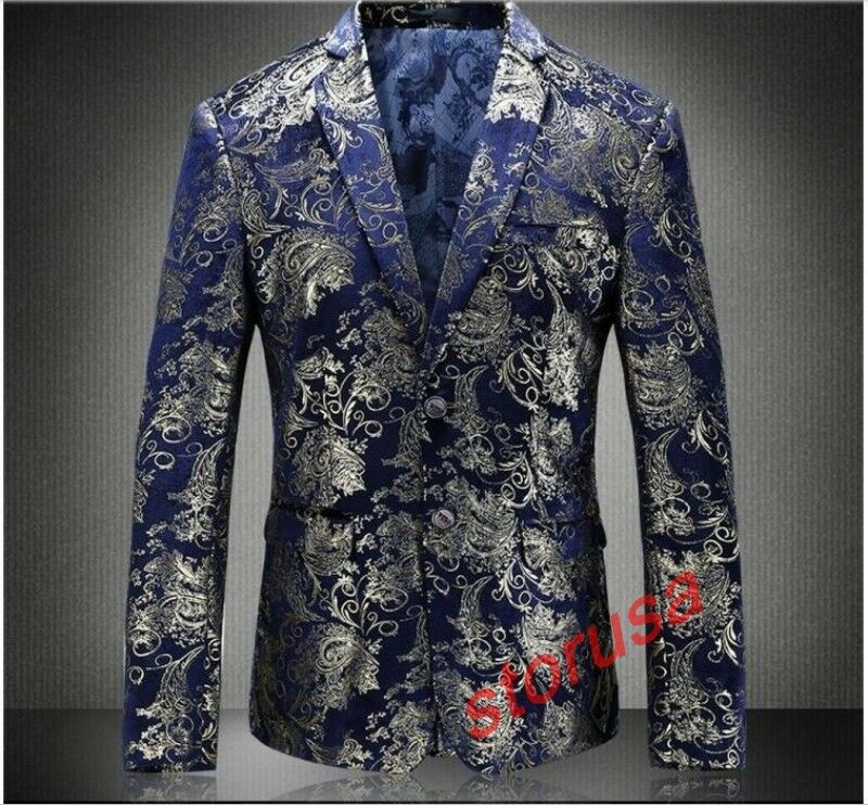 Mens gold Floral Print Slim Fit Formal Blazers Two Button Business Wedding Coat