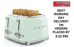 Smeg Tsf03pguk Pastel Green 4 Slot 4 Slice Toaster Retro 50s 2 Year Guarantee 8017709265045 Ebay