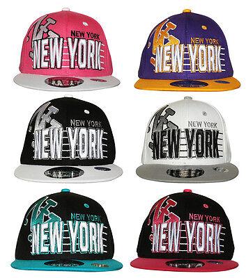 Giovanile Bambini Ny New York Stripe Snapback Flat Peak Cap Hat Snap Back Unisex-mostra Il Titolo Originale