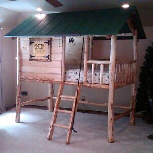 Tree house log cabin bed twin bunk bed loft bed custom for Log loft bed