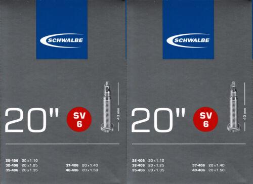 2x Schwalbe SV 6 20 Zoll Schlauch Sclaverand Ventil