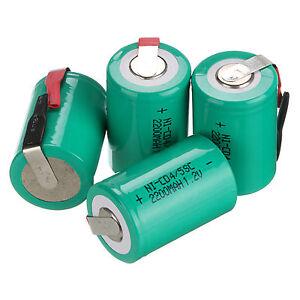 4Pcs-NiCd-4-5-SubC-Sub-C-1-2V-2200mAh-Rechargeable-Battery-amp-Tab-Green-Universal