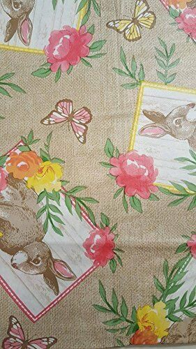 Easter Bunnies and Butterflies on Burlap Vinyl Flannel Backed Tablecloth 52x70